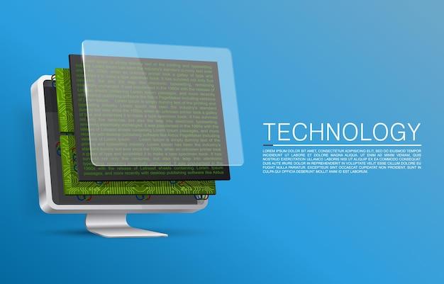 Zerlegter monitor für ersatzteile art.-nr. vektor-illustration