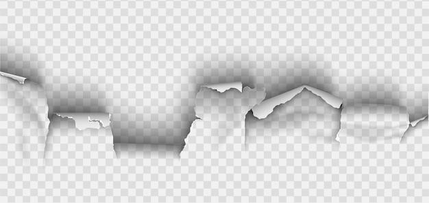 Zerlumptes loch in zerrissenem papier gerissen