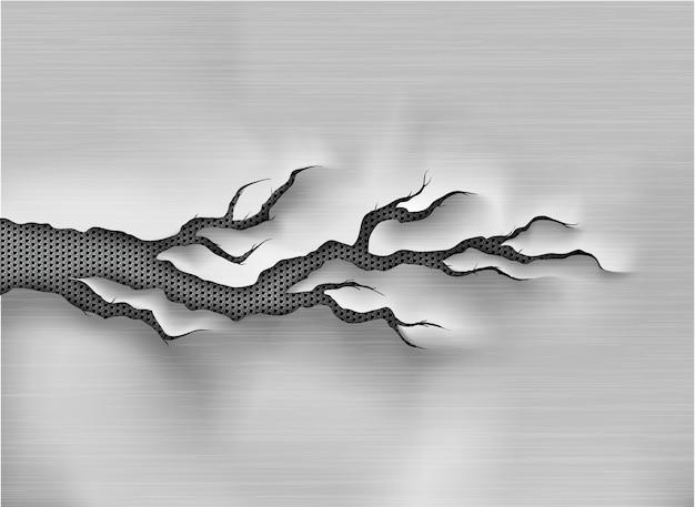 Zerlumptes loch in zerrissenem stahl auf metallhintergrund gerissen