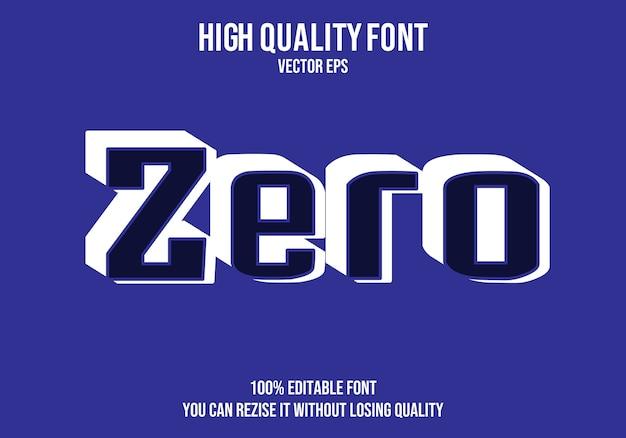 Zero text font effect