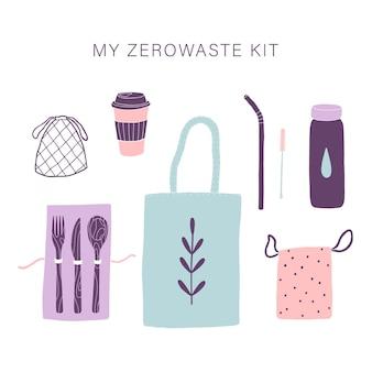 Zero waste alltagsset. handgemalt