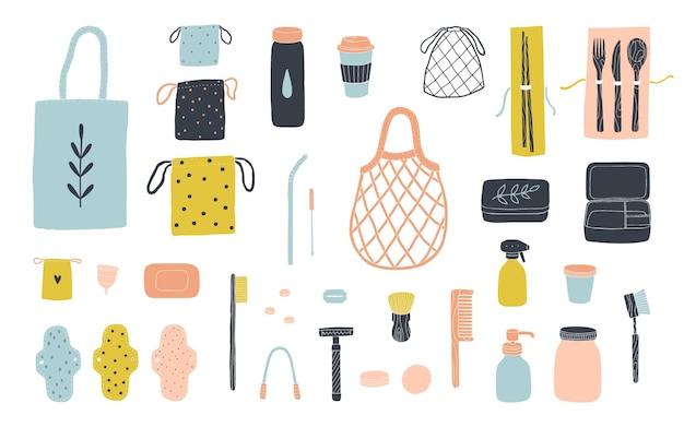 Zero-waste-artikel für ein umweltfreundliches leben.