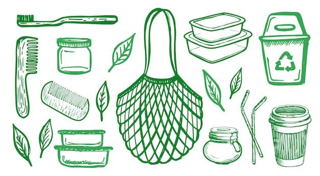 Zero waste handgezeichnete illustration