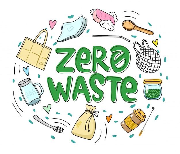 Zero waste in runder zusammenstellung