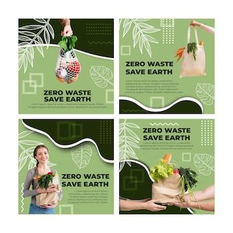 Zero waste instagram beiträge vorlage Kostenlosen Vektoren