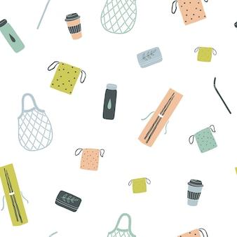 Zero waste items handgezeichnetes nahtloses muster