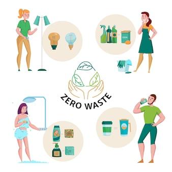 Zero waste konzept emblem und 4 flache kompositionen