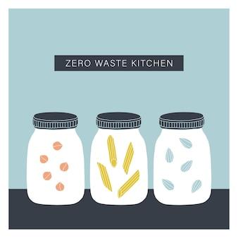 Zero waste küche. handgezeichnete gläser