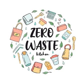 Zero waste küchenkonzept. abstraktes design mit grünen essentials