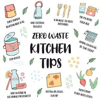 Zero waste-lebensstil. tipps für die küche. satz handgezeichnete symbole und ratschläge