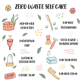 Zero waste-lebensstil. tipps zur selbstpflege mit handgezeichneten symbolen