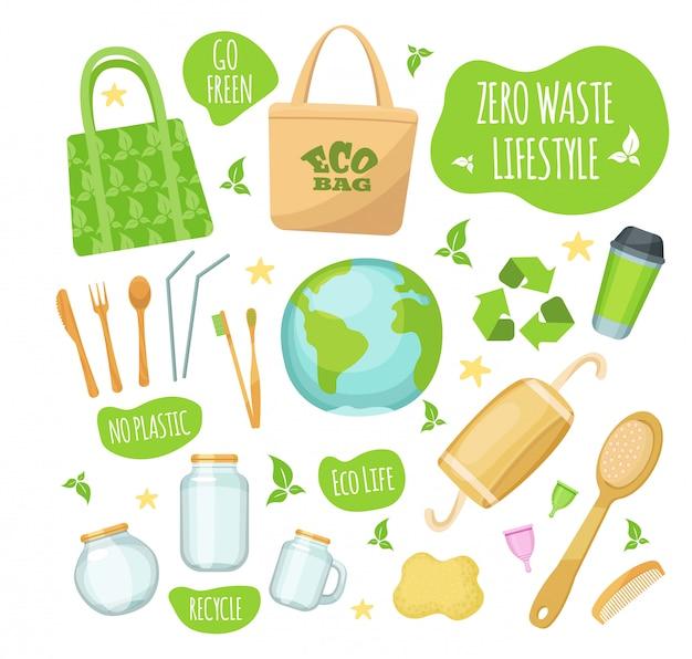 Zero waste lifestyle illustrationen, umweltfreundliche grüne stilikone gesetzt