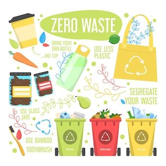 Zero waste lifestyle regeln. reduzieren sie plastikmüll, verwenden sie bio-produkte