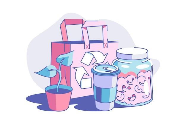 Zero waste lifestyle vector illustration umweltfreundliche nachhaltigkeit und umweltschutz