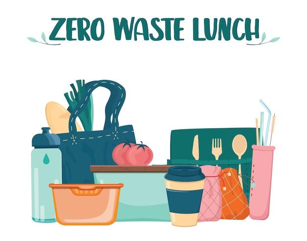 Zero waste lunch set. gericht, tasse und kulter für menschen, die sich für ökologie interessieren. brotdose, bambus-cultery und wiederverwendbare tasse und stroh.