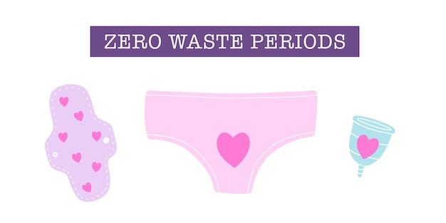 Zero waste perioden wiederverwendbare menstruationstasse pads unterwäsche handgezeichnet