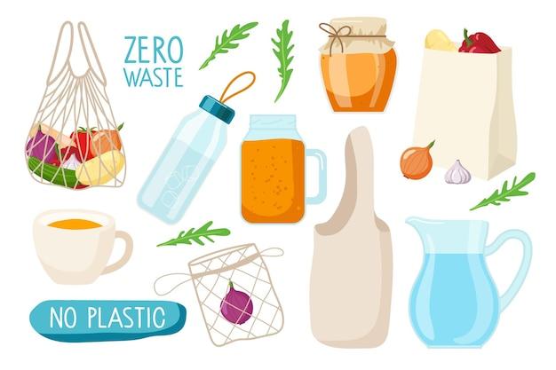 Zero waste set wiederverwendbare produkte glaswaren stoff ökobeutel kein plastikslogan glasflasche