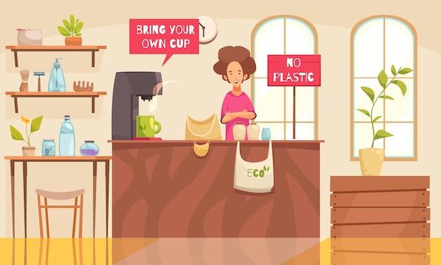 Zero waste shop mit bio-beutelflasche und kammsymbolen flach