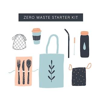 Zero waste starterkit. handgezeichnete objekte