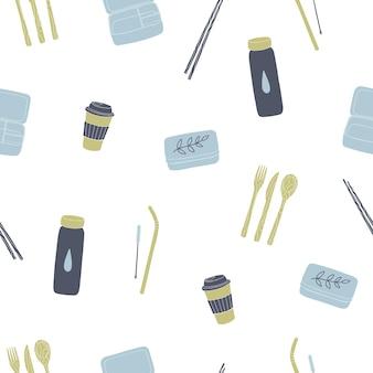Zero waste wiederverwendbare lunchbox-becherutensilien usw. nahtloses muster