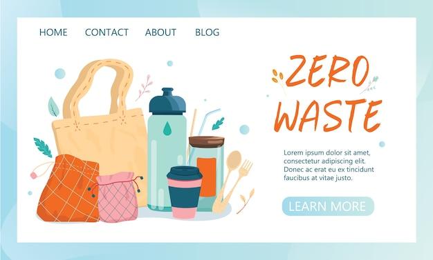 Zero wate web banner oder landing page idee. lebenselemente für menschen, die sich für ökologie interessieren. stofftasche und glas, brotdose und wiederverwendbare tasse.