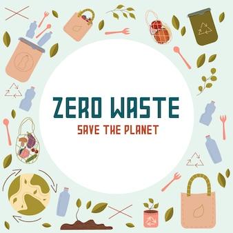 Zero west konzept die inschrift rettet die planet vector logo-design-vorlage und das zero-waste-symbol