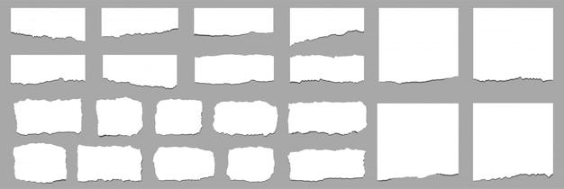 Zerrissene blätter. zerrissene papierstreifen. vektor