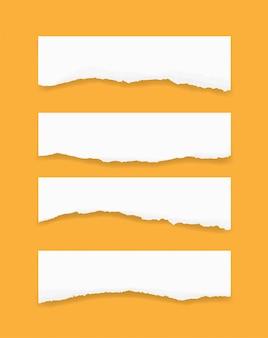Zerrissene papierkanten gesetzt. zerrissener papierbeschaffenheitshintergrund.