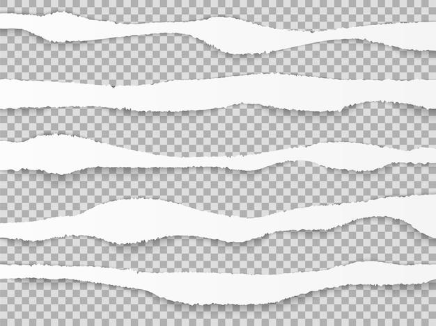 Zerrissene papierkanten. zerrissene papierschichten, textur der pappbögen mit schatten.