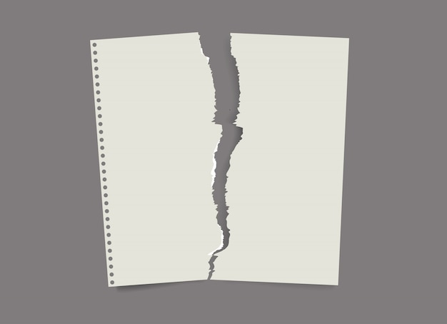 Zerrissene papierliste. gefaltetes papier, schmuddeliges altes papier