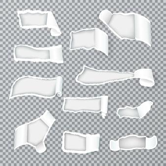 Zerrissene papierlocken legen die innere schicht durch verschieden geformte löcher frei, realistische bildersammlung