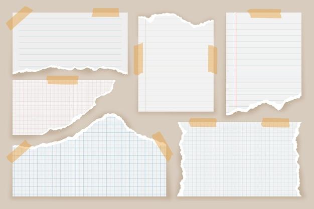 Zerrissene papierpackung im realistischen stil