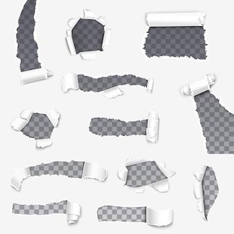 Zerrissene papierrisse mit klappenrändern, papierrollen.