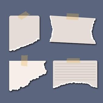 Zerrissene papiersammlung mit klebeband auf blauem hintergrund