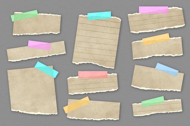 Zerrissene papiersammlung mit klebeband