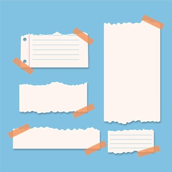 Zerrissene papiersammlung mit klebebandpackung