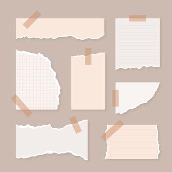 Zerrissene papiersammlung mit klebebandstil