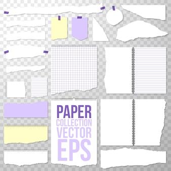 Zerrissene papierstücke aus spiralbindung notebook. saubere oder leere seiten lokalisiert auf transparentem. binder papers abgerissen