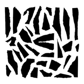 Zerrissene papierstücke vektor-set. sammlung von zerrissenen texturstreifen. schwarze silhouetten auf weißem hintergrund. beschädigter randsatz. zerrissene papierecke.