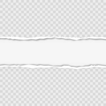 Zerrissene quadratische horizontale graue papierstreifen für text oder nachricht. vektor