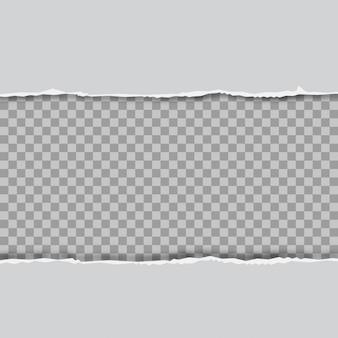 Zerrissene quadratische horizontale graue papierstreifen für text oder nachricht. vektor.