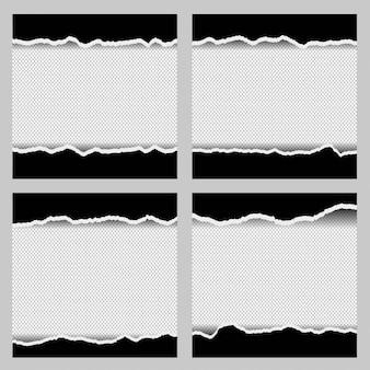 Zerrissene ränder der papierschablone für fotorahmengestaltungselementsatz