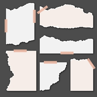 Zerrissene weiße papiere mit klebeband