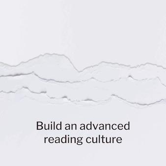 Zerrissener papierhandwerksschablonenvektor mit buchliebhaberzitat social-media-post