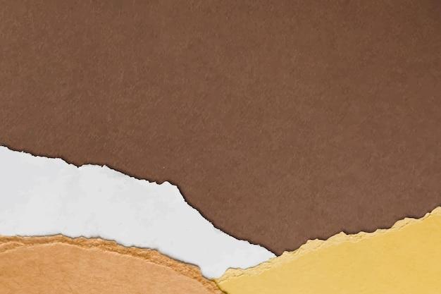 Zerrissener papierrandvektor auf handgemachtem erdtonhintergrund