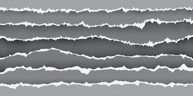 Zerrissener papierstreifenrand, seite mit gerissenen kanten. realistisches zerrissenes papier. rahmen aus zerfetzten blechstücken. zerrissener karton textur vektor-set