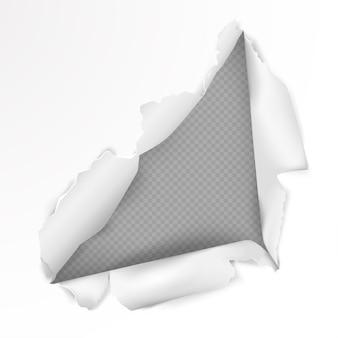 Zerrissenes loch auf papier im realistischen stil