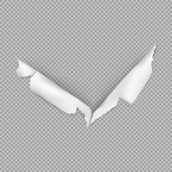 Zerrissenes loch auf papier in realistischer artillustration