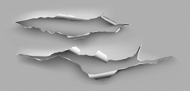 Zerrissenes loch, zerlumpter riss im stahlblech. realistisches modell der zerrissenen kanten des metallbruchs lokalisiert auf transparentem hintergrund. beschädigte metallseite durch schnitt oder explosion