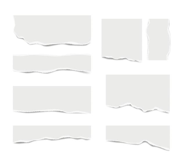 Zerrissenes papier. gebrochenes weißes briefpapier für textnachrichten verschiedene formen vektor realistische vorlage